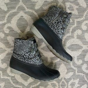Grey Leopard Saltwater Duck Boots